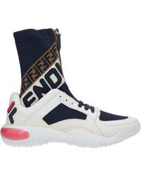 Fendi White And Navy Mania Sock Sneakers - Blue
