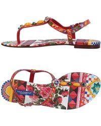 Dolce & Gabbana Toe Strap Sandal - Red