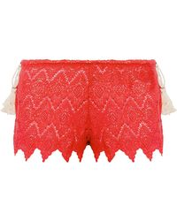 Eberjey - Dylan Tasselled Crocheted Cotton Shorts - Lyst