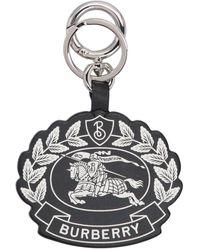 Burberry Crest Print Leather Key Charm - Black