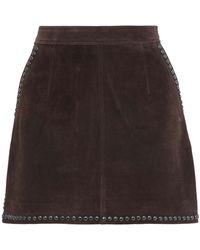 FRAME Studded Suede Mini Skirt Chocolate - Brown