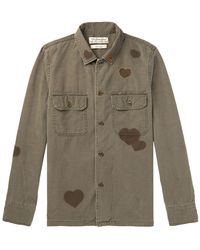 Remi Relief Embellished Printed Cotton Shirt - Green