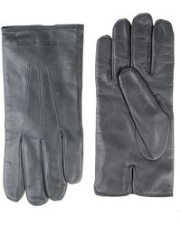 Emporio Armani Leather Gloves - Grey
