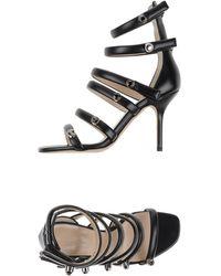 Christopher Kane - Crystal-Embellished Multi-Strap Leather Sandals - Lyst