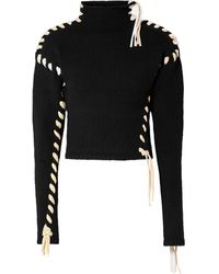 Acne Studios Kerri Whipstitched Wool Turtleneck Sweater - Black
