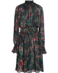 Mikael Aghal Shirred Printed Silk-chiffon Dress Emerald - Green