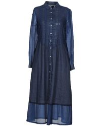 120% Lino Robe longue - Bleu