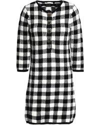 Maje - Gingham Jacquard-knit Cotton-blend Mini Dress Black - Lyst