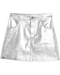 TOPSHOP Denim Skirt - Metallic