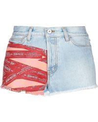 Heron Preston Tape Print Denim Shorts - Blue