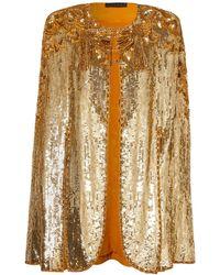 Dundas Tasselled Sequined Silk-twill Cape - Metallic