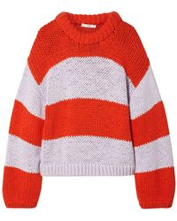 Tibi Tube Yarn Striped Cropped Pullover - Red