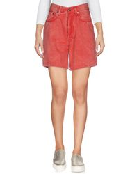 People Denim Shorts - Red