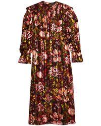 TOPSHOP Fallen Floral Jacquard Midi Dress - Brown
