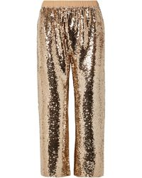 Figue Verushka Cropped Sequined Tulle Trousers - Metallic