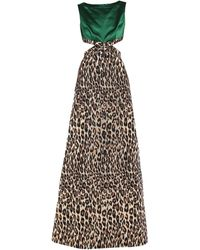 Miu Miu Leopard Print Maxi Dress - Green
