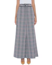 Boutique Moschino Plaid Wide Leg Pants - Black