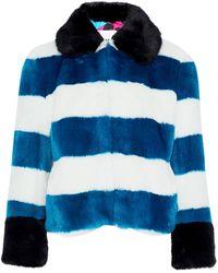Ainea Woman Striped Faux Fur Jacket Cobalt Blue