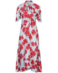 Proenza Schouler Splatter Floral Short Sleeve Tie Dress - Red