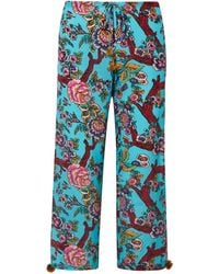 Figue Goa Cropped Printed Silk Crepe De Chine Trousers - Blue