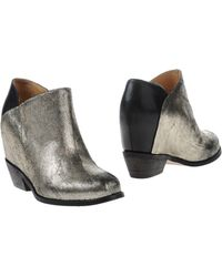 MM6 by Maison Martin Margiela - Metallic-Leather Ankle Boots - Lyst