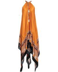 Just Cavalli - Asymmetric Gathered Printed Satin Maxi Dress Orange - Lyst