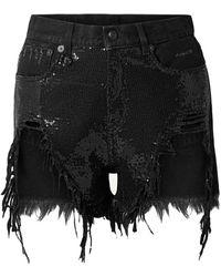 R13 Shorts vaqueros - Negro