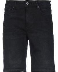 Solid Denim Shorts - Black