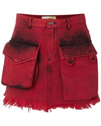 Marques'Almeida Denim Skirt - Red