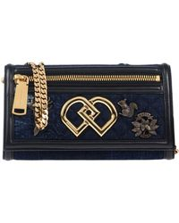 "DSquared² Clutch ""dd"" In Denim Con Tracolla In Catena - Blue"