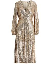 Lauren by Ralph Lauren 3/4 Length Dress - Metallic