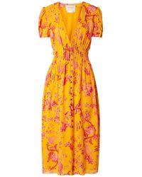 Carolina Herrera Midikleid Aus Crêpe De Chine Aus Seide Mit Floralem Print Und Biesen - Orange