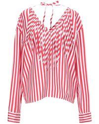 MSGM Camicia con scollo a v e frange a righe - Rosso
