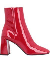Prada Women's Leather Heel Ankle Boots Booties - Red