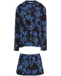 Stella McCartney Poppy Snoozing Printed Stretch-silk Crepe De Chine Pajama Set - Blue
