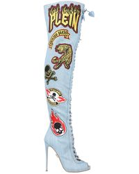 Philipp Plein Knee Boots - Blue