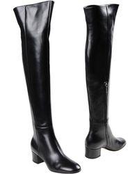 Gianvito Rossi Dana Leather Mid Calf Boots - Black