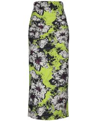 Miu Miu Ruched Floral-print Silk-blend Cloqué Midi Skirt - Green