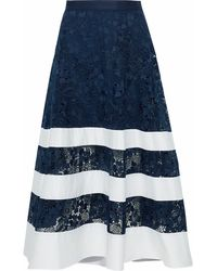 Badgley Mischka Woman Poplin-paneled Guipure Lace Midi Skirt Navy - Blue