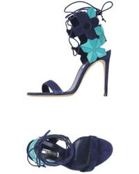 Casadei Lace-up Laser-cut Leather And Suede Sandals Navy - Blue