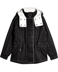 TOPSHOP black Borg Ski Jacket By Sno