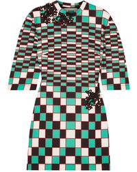 Christopher Kane Embellished Checked Stretch-scuba Mini Dress - Green