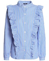 Raoul Ruffled Striped Cotton-poplin Shirt Blue