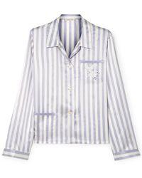 Morgan Lane + Amanda Fatherazi Ruthie Appliquéd Striped Silk-charmeuse Pyjama Shirt - Purple