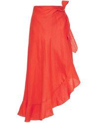 Miguelina Knee Length Skirt - Orange