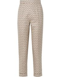 Brock Collection Peregrine Embroidered Cotton And Silk-blend Brocade Tapered Trousers - Gray
