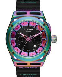 DIESEL Timeframe Chronograph Black Silicone Strap Watch 48mm