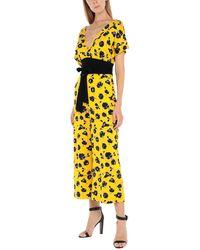 Diane von Furstenberg Evangeline Silk Jersey Wide Leg Jumpsuit - Yellow