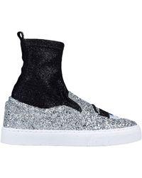 Chiara Ferragni Sneakers slip sock slip on a calzino in neoprene glitter con ricamo eyes flirting - Nero