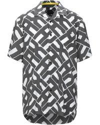 Armani Exchange Slim-fit Llover Pop-logo Short Sleeve Button Down Shirt - Grey